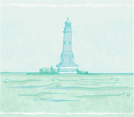 lighthouse seen from a tiny beach - Grunge Poster Stock Vector - 11812299