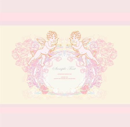 happy valentines day card with cupid Stock Vector - 11812316