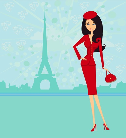 sexy belly: beautiful women Shopping in Paris - vector card