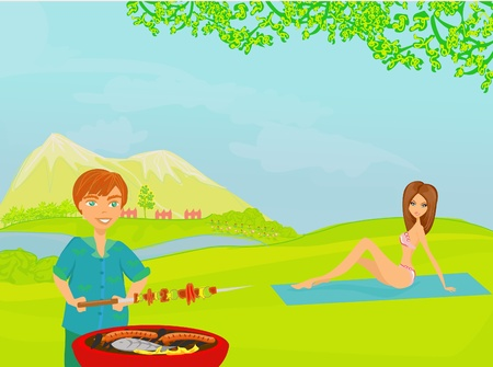 blanket fish: Barbecue Party - cook and girl Illustration
