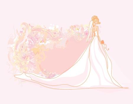 wedding church: Beautiful bride card  Illustration