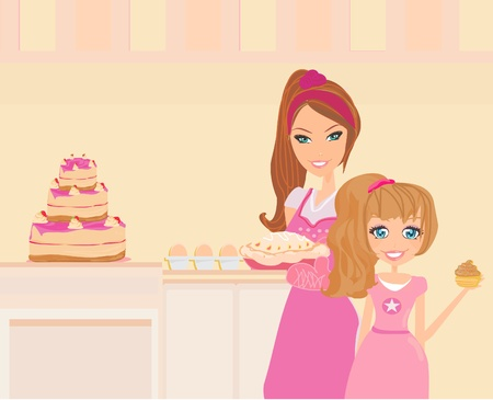 Happy mother helping her daughter cooking in the kitchen  Vector