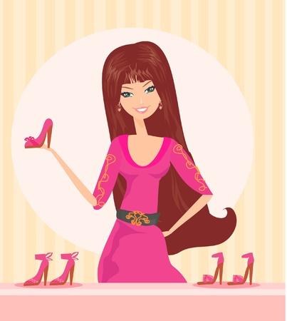shoe shelf: Fashion girl shopping in shoe shop Illustration