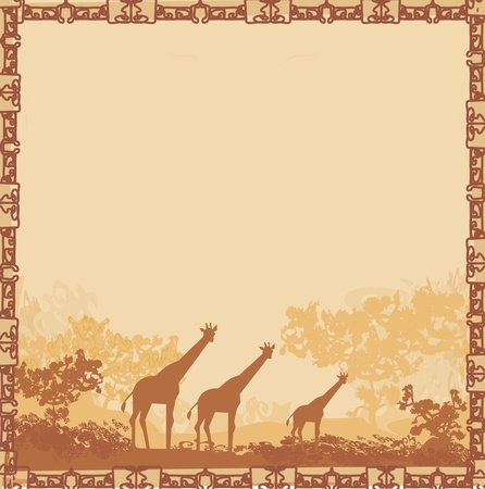 africa sunset: grunge background with African fauna and flora  Illustration