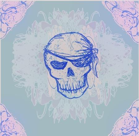 Skull Pirate - retro card Stock Vector - 11812332