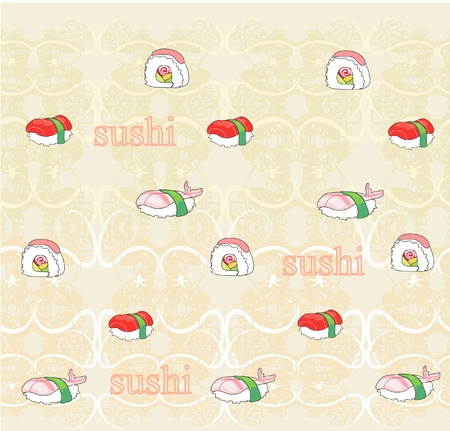 vector  pattern with sushi Vector