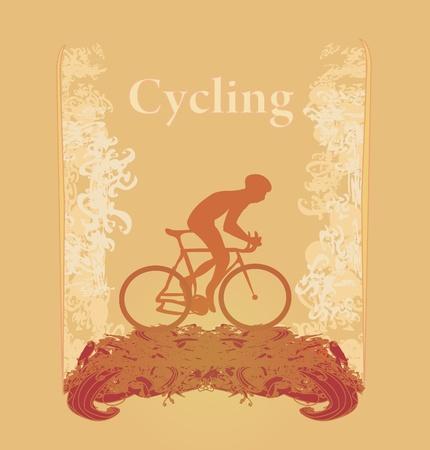 ciclista: Ciclismo Cartel grunge plantilla de vectores