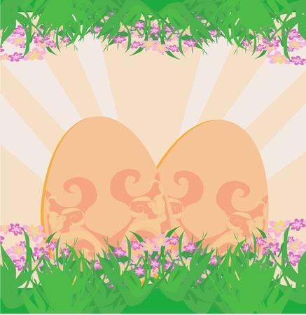 Easter Egg On Grunge Background  Stock Vector - 11812339