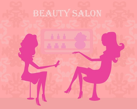 Young lady doing manicure in beauty salon Stock Vector - 11812334