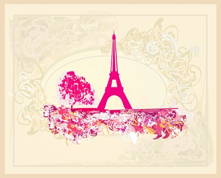 parisian: vintage retro Eiffel card Illustration