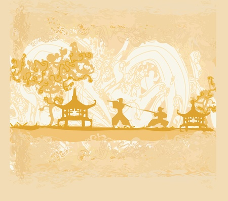 old paper with Samurai silhouette Stock Vector - 11812343