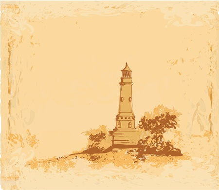 lighthouse seen from a tiny beach - Grunge Poster Stock Vector - 11812372