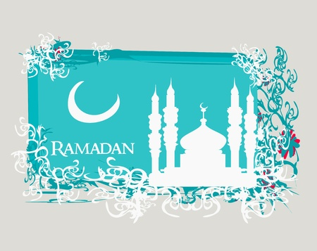 Ramadan background - mosque silhouette vector card