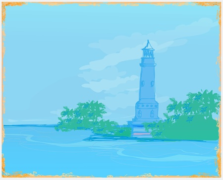lighthouse seen from a tiny beach - Grunge Poster Stock Vector - 11812363