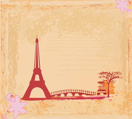 construction paper art: vintage retro Eiffel card  Illustration