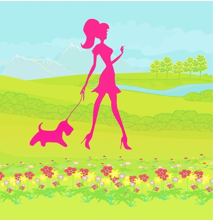 Pretty girl walking the dog Stock Vector - 11899115