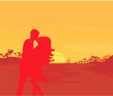 silhouette couple kissing on tropical beach Stock Vector - 11899073