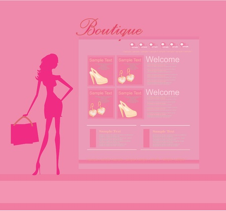 Fashion shopping Website template  Stock Vector - 11899114