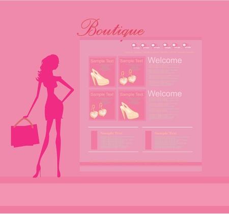 fashion shopping: Moda plantilla de p�gina web Vectores