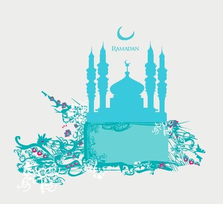 relegion: Ramadan background - mosque silhouette vector card