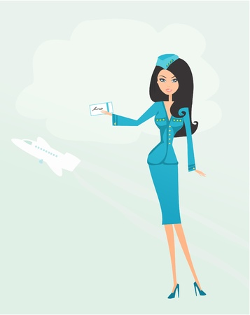airline uniform: Beautiful stewardess with ticket