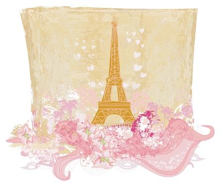 paris illustration: vintage retro Eiffel card  Illustration