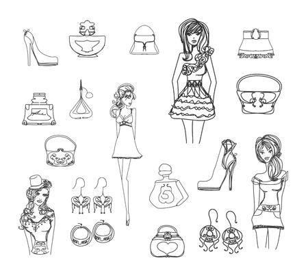 cosmetics bag: Fashion shopping icon doodle set