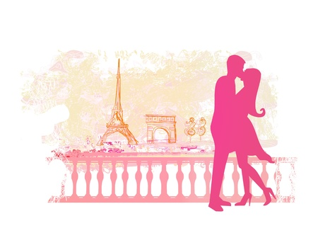 french culture: Romantic couple in Paris kissing near the Eiffel Tower. Retro card.  Illustration
