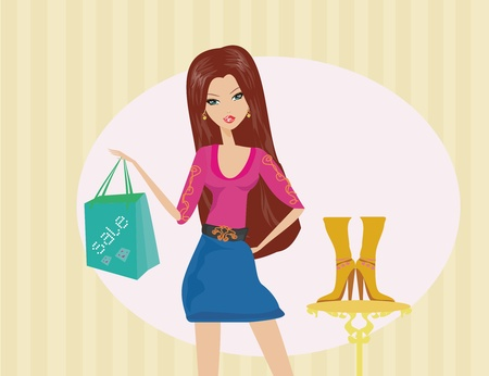 Fashion girl shopping in shoe shop  Stock Vector - 11899128
