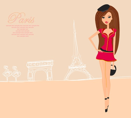 beautiful women Shopping in Paris - vector card  Vector
