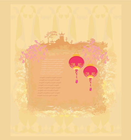 old paper with Asian Landscape and Chinese Lanterns - vintage japanese style background Stock Vector - 11898098