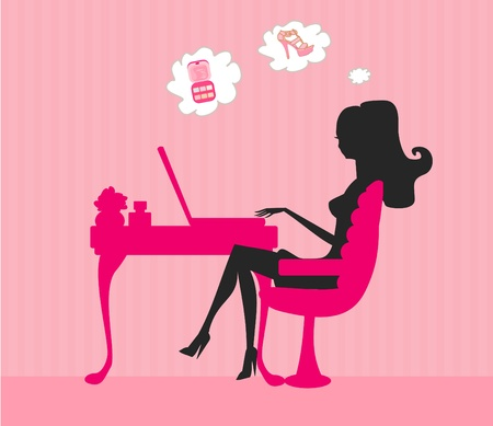 Online shopping - young smiling woman sitting with laptop compute Vector