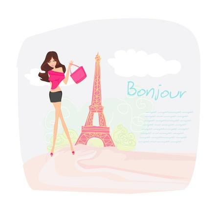 schönen Frauen Shopping in Paris - Vektor-Karte