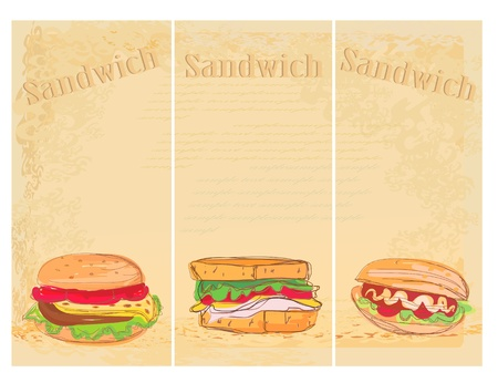 Horizontal grunge background with sandwich set Vector