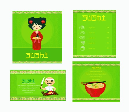 template of traditional Japanese food menu set Stock Vector - 11898085