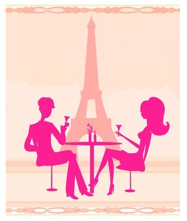 dinner date: Giovane coppia flirt e bere champagne a Parigi Vettoriali