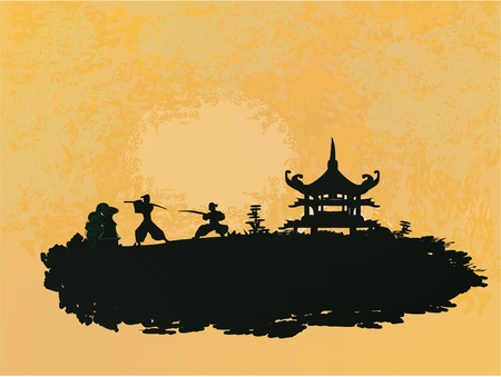 chinese temple: old paper with Samurai silhouette