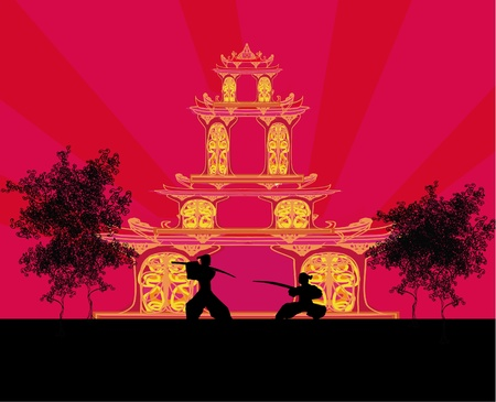 chinese temple: old paper with Samurai silhouette Illustration
