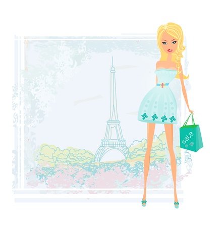 beautiful women Shopping in Paris - vector card  Stock Vector - 11934552