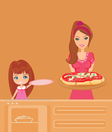 delivery room: Housewife serving pizza