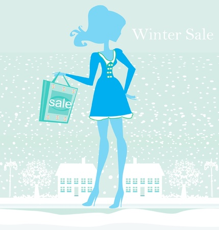 fashion winter girl with shopping bags - winter sale Vector
