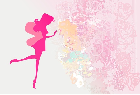 fairy silhouette: floral background with a beautiful fairy
