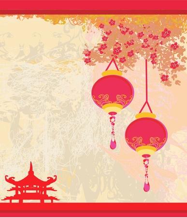 pagoda: papel viejo con Paisaje de Asia y linternas chinas - fondo vintage estilo japon�s