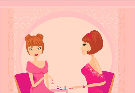 Young lady doing manicure in beauty salon  Vector