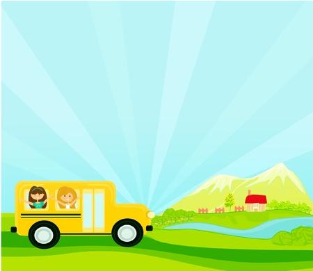 a school bus heading to school with happy children Stock Vector - 11978705