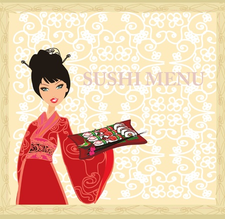 beautiful Asian girl enjoy sushi - menu template  Stock Vector - 11978704