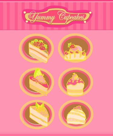 Vintage card with cupcake - vector set           Vector