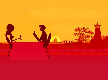dinner party: silhouette couple on tropical beach