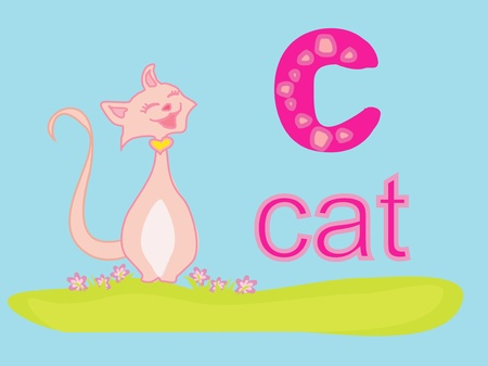 illustration of animal alphabet C with cat  Vector
