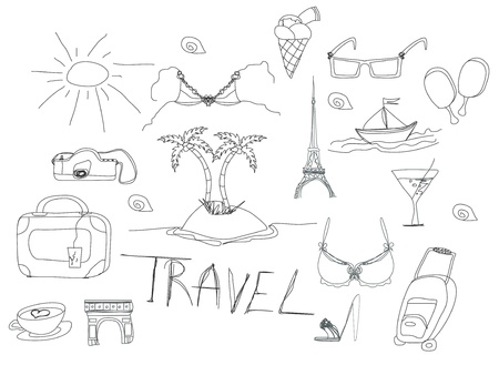 Hand drawn travel doodles. Vector illustration. Vector